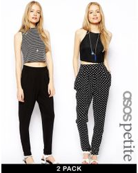 Asos 2 Pack Jersey Peg Pants in Plain Black and Polka Dot Save 25 - Lyst