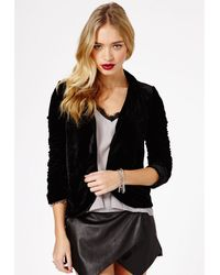 Missguided Lucinde Velvet Blazer in Black - Lyst