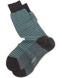 Pantherella Mid-calf Mini-gingham Knit Socks - Lyst