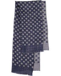 Lardini - Polka Dot Wool Silk Blend Jacquard Scarf - Lyst