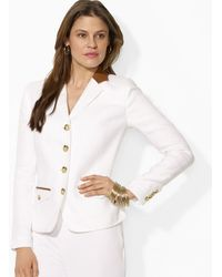 Ralph Lauren Lauren Four Button Blazer with Leather Trim - Lyst