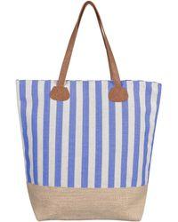 Stefanel Striped Jute Fabric Bag - Lyst