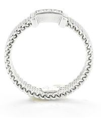 Tiffany & Co. - Pre-owned Sterling Silver Mesh and Diamond Ring - Lyst