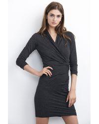 Velvet By Graham & Spencer Yves Textured Knit Wrap Front Dress gray - Lyst