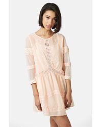 Topshop Crochet Trim Chiffon Dress - Lyst