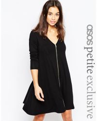 ASOS | Exclusive Zip Front Swing Dress With Long Sleeve | Lyst