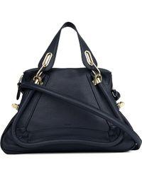 Chloé Paraty Medium Calfskin Bag Navy - Lyst
