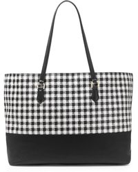 Diane von Furstenberg Voyage Gingham Colorblock Leather Large Tote - Lyst