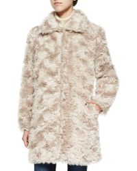 Sofia Cashmere Curly Mohair Coat With Pockets beige - Lyst