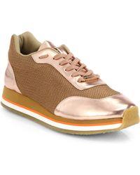 Stella McCartney Faux Metallic Leather Platform Sneakers - Lyst