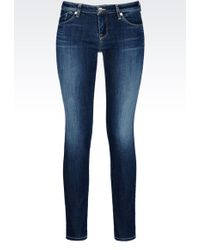 Armani Jeans Medium Dark Wash Skinny Jeans - Lyst