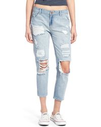 Hart Denim - 'libbey' Distressed Crop Jeans - Lyst