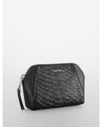 Calvin Klein White Label Clea Python Embossed Leather Cosmetic Case - Lyst