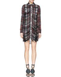 McQ by Alexander McQueen Tartan Slash Front Shirt Dress - Lyst