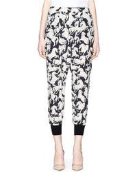 Stella McCartney | 'joey' Running Horses Print Silk Crepe Pants | Lyst