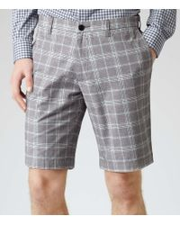Reiss Perry Grey Check Shorts - Lyst