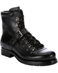 Prada Black Leather Lace Up Combat Boots - Lyst