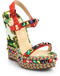 Christian Louboutin Cataclou Suede & Leather Platform Espadrilles red - Lyst