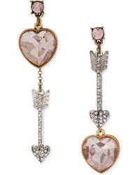Betsey Johnson Gold-tone Pink Crystal Heart and Arrow Front-back Drop Earrings - Lyst