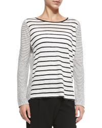 Vince Mixed-stripe Linen Slub Top - Lyst