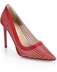 Diane von Furstenberg Bridgette Leather & Mesh Point-Toe Pumps - Lyst