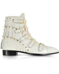 Giuseppe Zanotti Studded And Fringe Leather Bootie - Lyst