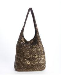 Alice + Olivia Brown Nylon Sequined Hobo Bag - Lyst