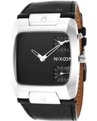 Nixon Mens Banks Black Genuine Leather Strap and Dial - Lyst