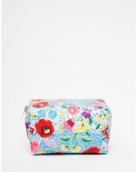 Jaded London | Blue Crochet Floral Lace Print Make-up Bag | Lyst