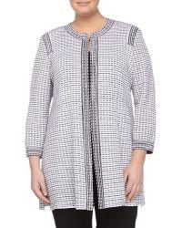 Misook Knit Three-quarter Sleeve Long Cardigan Graywhite - Lyst