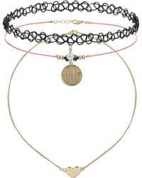 Topshop Love Charm Tattoo Choker Pack Black - Lyst