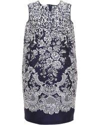 Oscar de la Renta Shift Printed Day Dress With Pocket - Lyst