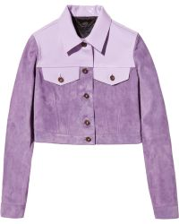 Burberry Prorsum Cropped Patent Leather-Paneled Suede Jacket purple - Lyst