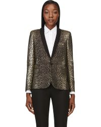 Saint Laurent Black and Gold Leopard Brocade Tuxedo Blazer - Lyst