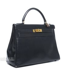 Hermes Pre-Owned Navy Box Calf Kelly 32 Bag - Lyst