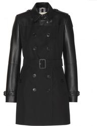 Burberry Brightwell Trench Coat with Leather - Lyst
