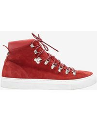 Diemme Hi Top Lace Up Suede Sneaker Boot Red - Lyst