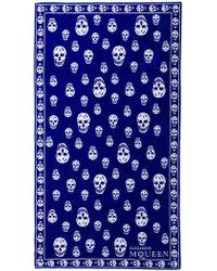 Alexander McQueen Blue Skull Towel - Lyst