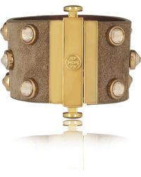 Tory Burch - Suede and Crystal Cuff - Lyst