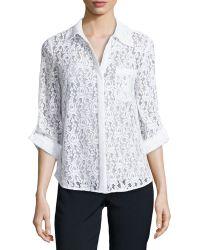 Diane von Furstenberg White Lace Shirt with Tab Sleeves - Lyst