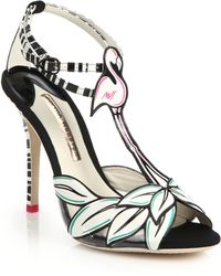 Sophia Webster Flamingo-Print Leather Sandals - Lyst