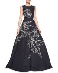 Oscar de la Renta Sleeveless Floral-Embroidered Gown floral - Lyst
