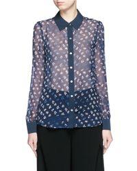 Diane von Furstenberg | 'mariah' Daisy Bud Print Combo Silk Shirt | Lyst