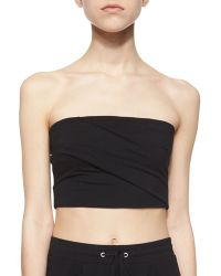 Helmut Lang Strapless Pleated Bra Top - Lyst