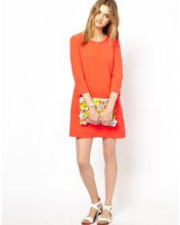 Mademoiselle Tara Crepe Shift Dress in Tangerine - Lyst