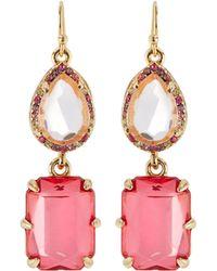 R.j. Graziano - Rhinestone Double-drop Earrings - Lyst