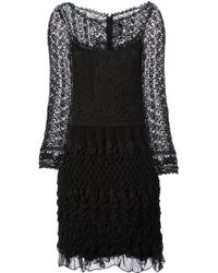 Alberta Ferretti Crochet Floral Lace Dress - Lyst