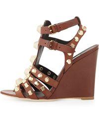 Balenciaga Studded Tstrap Wedge Sandal - Lyst