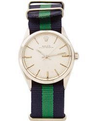 CMT Fine Watch And Jewelry Advisors - Vintage Rolex Oyster Perpetual with Blue and Green Striped Nato - Lyst