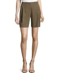 Halston Heritage High-waisted Pleated Silk Shorts - Lyst